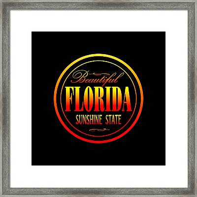 Florida Sunshine State - Tshirt Design Framed Print by Art America Gallery Peter Potter