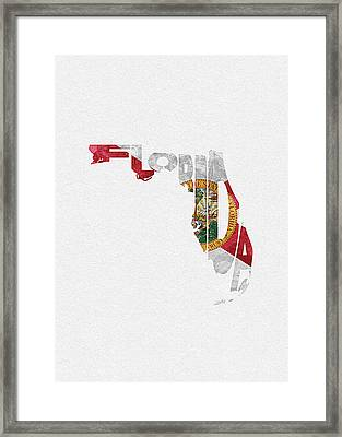 Florida Typographic Map Flag Framed Print
