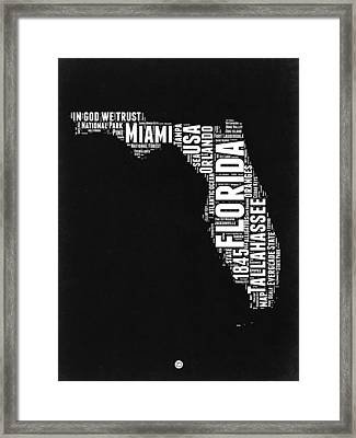 Florida Word Cloud Black And White Map Framed Print