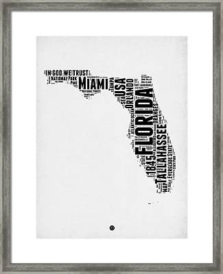 Florida Word Cloud Map 2 Framed Print