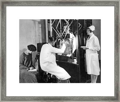Floroscope Examination Framed Print by Underwood Archives