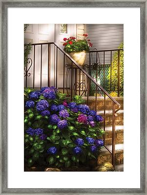 Flower - Hydrangea - Hydrangea And Geraniums  Framed Print by Mike Savad