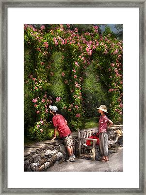 Flower - Rose - Smelling The Roses Framed Print by Mike Savad