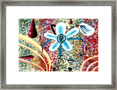 Flower And Ant Framed Print