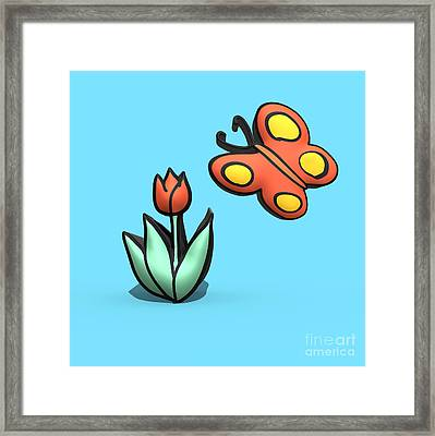 Flower And Butterfly Drawing  Framed Print by Humorous Quotes