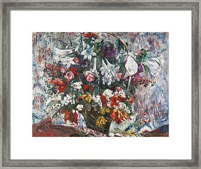 Flower Basket With Amaryllis Framed Print