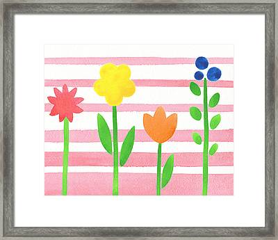 Flower Bed On Baby Pink Framed Print by Irina Sztukowski