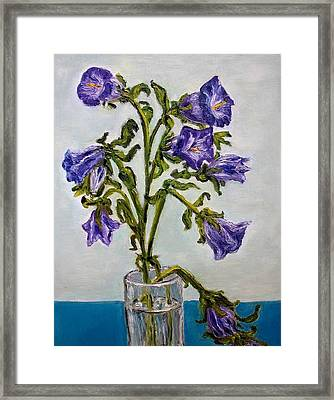 Flower  Bluebells Original Oil Painting Framed Print by Natalja Picugina