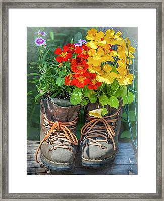 Flower Boots Framed Print