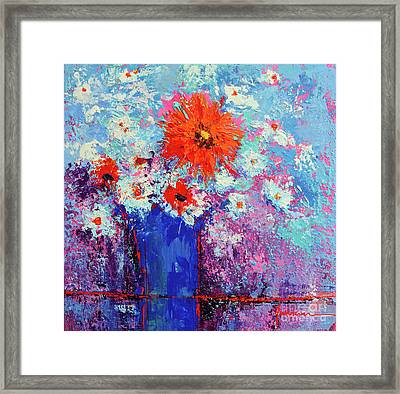Flower Bouquet Modern Impressionistic Art Palette Knife Work Framed Print by Patricia Awapara