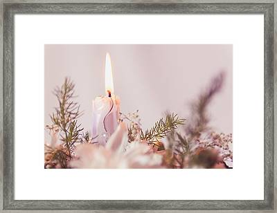 Flower Bouquet With Candle Framed Print by Thubakabra