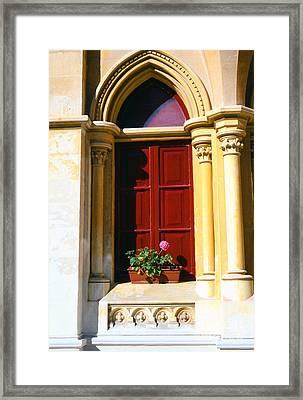 Flower Box And Window Framed Print