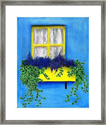 Flower Box With Lilac And Ivy Framed Print