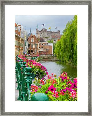 Flower Boxes Along The Canal Framed Print