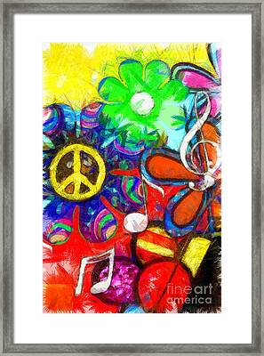 Flower Child Peace Love Pencil Framed Print