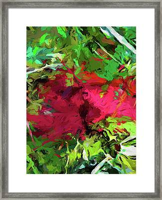 Flower Christmas Red Green Pink Framed Print