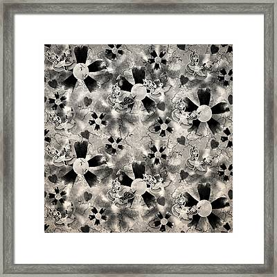 Flower Clown Pattern In Black Framed Print