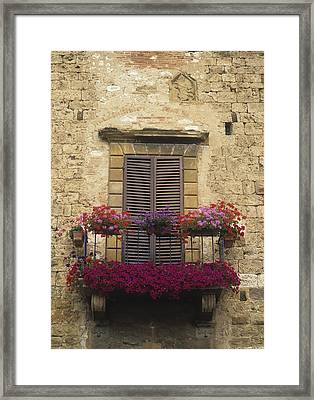 Flower Covered Balcony Framed Print by Axiom Photographic