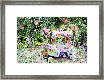 Flower Fairies In A Flower Mobile Framed Print