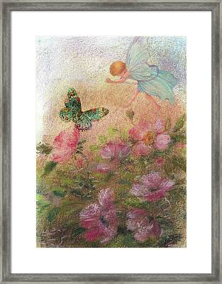 Flower Fairy Butterfly Roses Framed Print