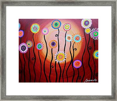 Framed Print featuring the painting Flower Fest by Pristine Cartera Turkus