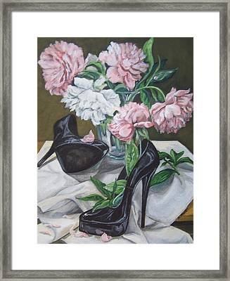 Framed Print featuring the painting Flower Fetish by Laura Aceto