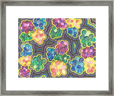 Framed Print featuring the drawing Flower Frenzy by Jill Lenzmeier