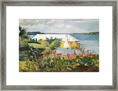 Flower Garden And Bungalow Framed Print
