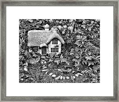 Flower Garden Cottage In Black And White Framed Print