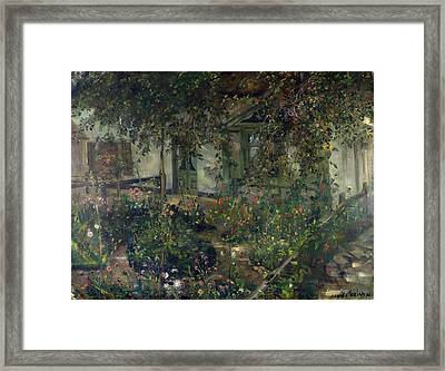 Flower Garden In Bloom Framed Print by Franz Heinrich Louis