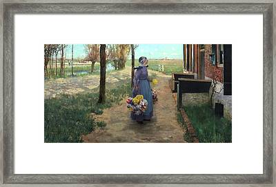 Flower Girl In Holland Framed Print by George Hitchcock