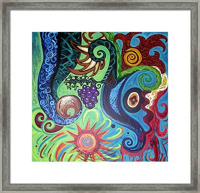 Flower Goyle With Grapes Framed Print by Genevieve Esson