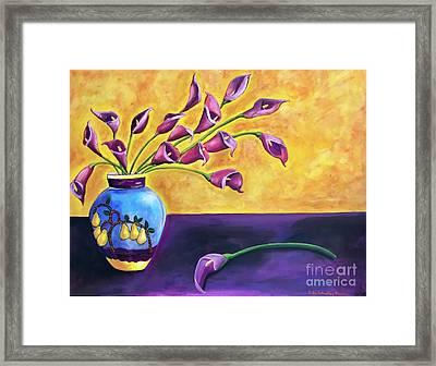 Flowers In Blue Vase Framed Print