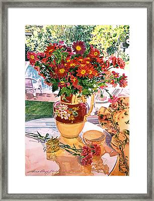Flower Jug In The Window Framed Print by David Lloyd Glover