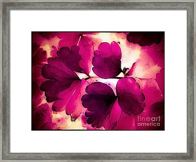 Flower Leaves In Pink And White Abstract Framed Print by Debra Lynch
