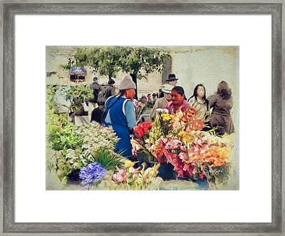 Flower Market - Cuenca - Ecuador Framed Print