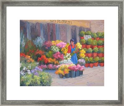 Flower Market On Rue Cler Framed Print