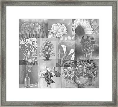 Flower Montage In Shades Of Gray Framed Print