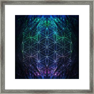 Flower Of Life Neon Framed Print
