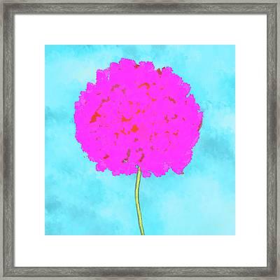 Flower On Blue Framed Print