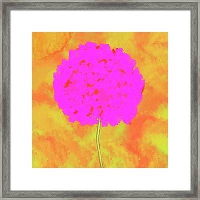 Flower On Orange Framed Print