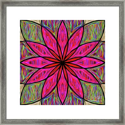 Flower On Rainbow Mandala By Kaye Menner Framed Print
