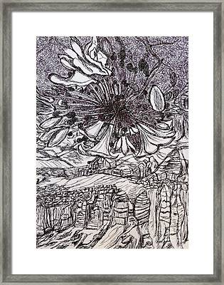 Flower Over Canyon Abstract  Framed Print by Ishy Christine Degyansky