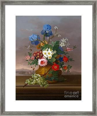 Flower Piece With Grapes Set Against A Landscape Framed Print