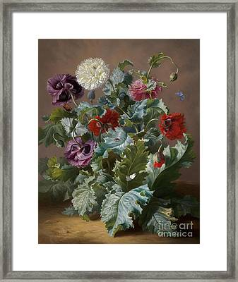 Flower Piece With Poppies And Butterflies Framed Print