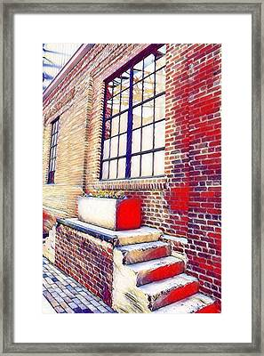 Flower Planter On Stairs- Artsy Framed Print by Selena Wagner