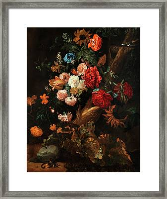 Flower Plot With Gelbbauchunke And Snake Framed Print by Ernst Stuven