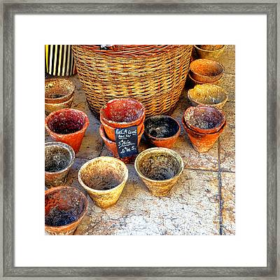 Framed Print featuring the photograph Flower Pots In Provence by Olivier Le Queinec