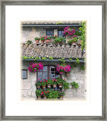 Flower Pots In Windows In Arles Framed Print by Carson Ganci