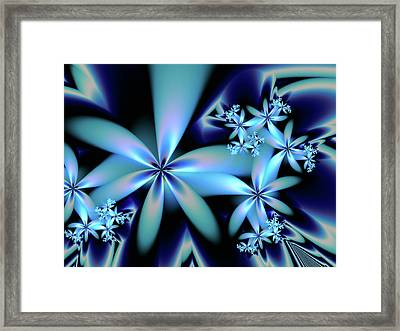 Flower Power Blue Framed Print